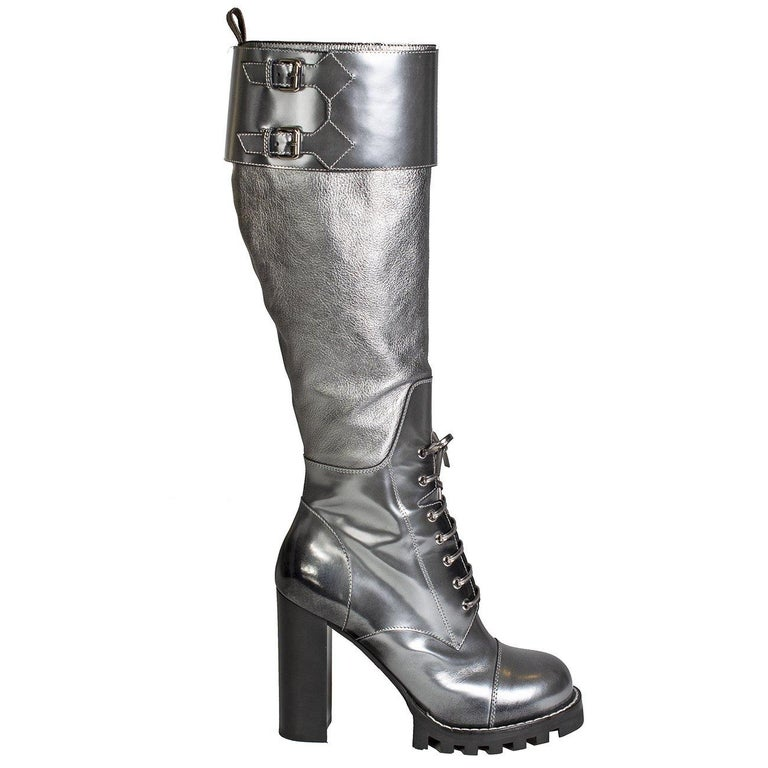 Louis Vuitton Metallic Silver Leather Combat Boots For Sale