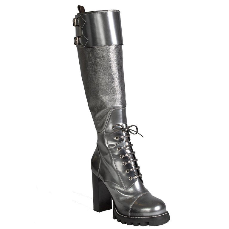 2c9462f62c6 Louis Vuitton Metallic Silver Leather Combat Boots at 1stdibs
