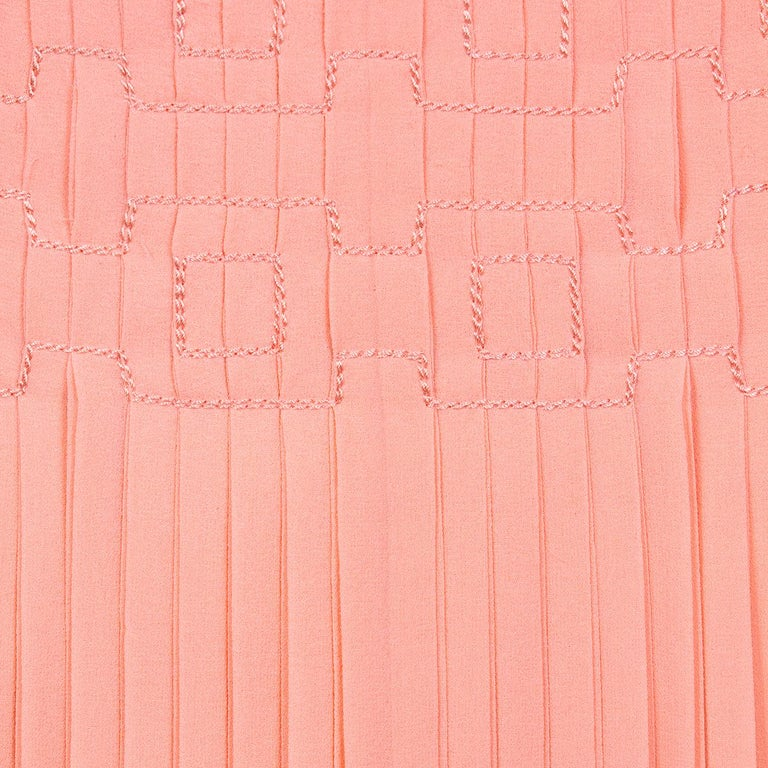 Orange Peach Chiffon Dress with Pleating by Coco Chanel circa 1960s For Sale