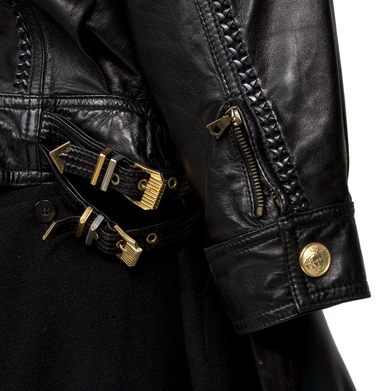 Versace Black Leather Jacket from the Bondage Collection, early 1990s In Excellent Condition For Sale In Los Angeles, CA