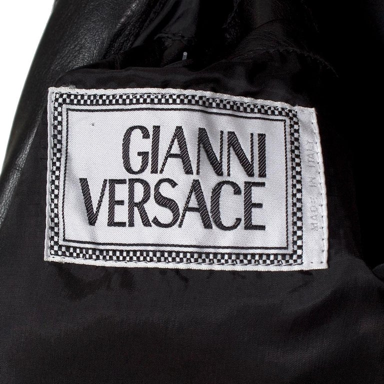 Versace Black Leather Jacket from the Bondage Collection, early 1990s For Sale 1