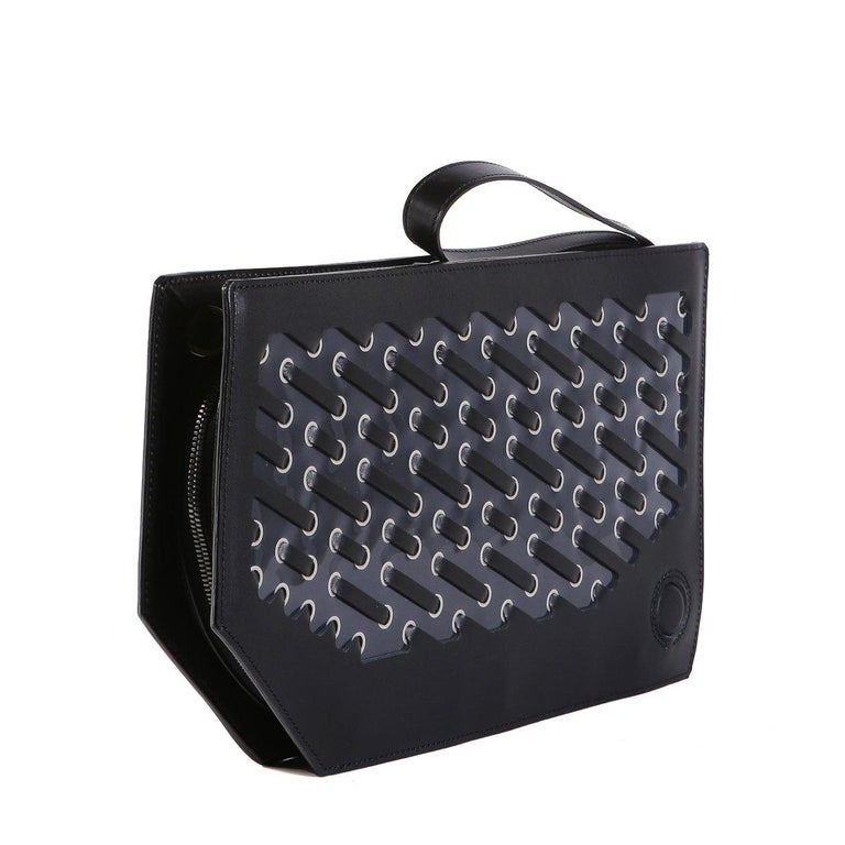 Issey Miyake Changing Light Clutch Black Leather In Excellent Condition For Sale In Los Angeles, CA