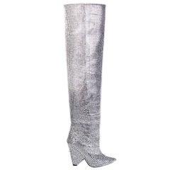 Saint Laurent Limited Edition Niki Swarovski Crystal Thigh High Boots