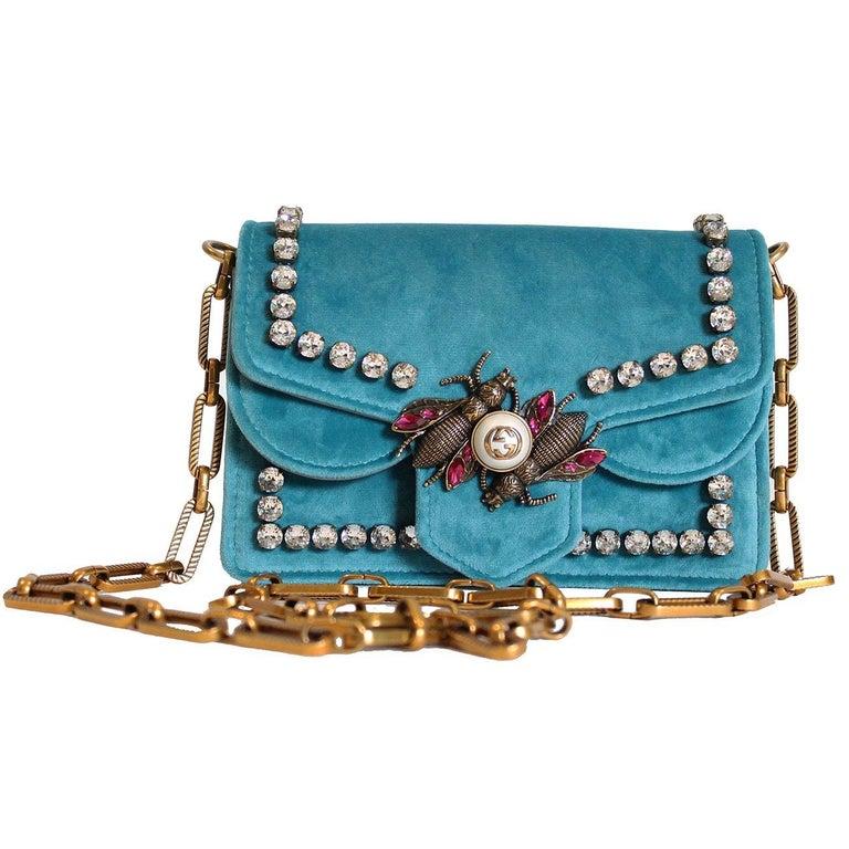 5c53012f3a52 Gucci Teal Broadway Velvet Mini Shoulder Bag