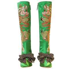 Gucci Green Satin Knee Boots with Dragon Embroidery, 2017