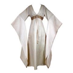 Bone Linen Kimono by Chester Weinberg circa 1965
