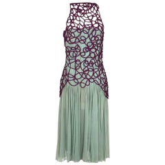 Versace Pleated Silk Chiffon Dress with Purple Netting Detail circa 1980s