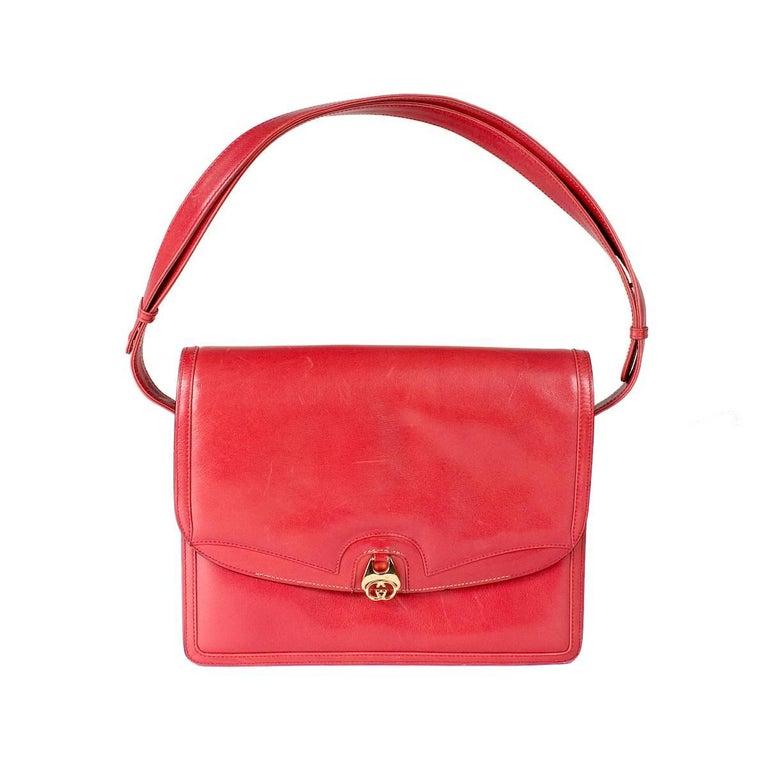 Gucci Red Leather vintage Shoulder Bag For Sale