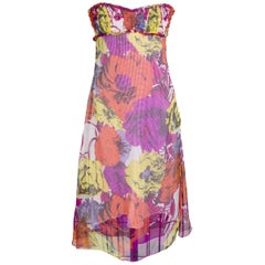 Versace Floral Pop Art Print Strapless Dress circa 1990s