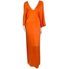 Halston Orange Silk Dress with Batwing Sleeve circa 1970s