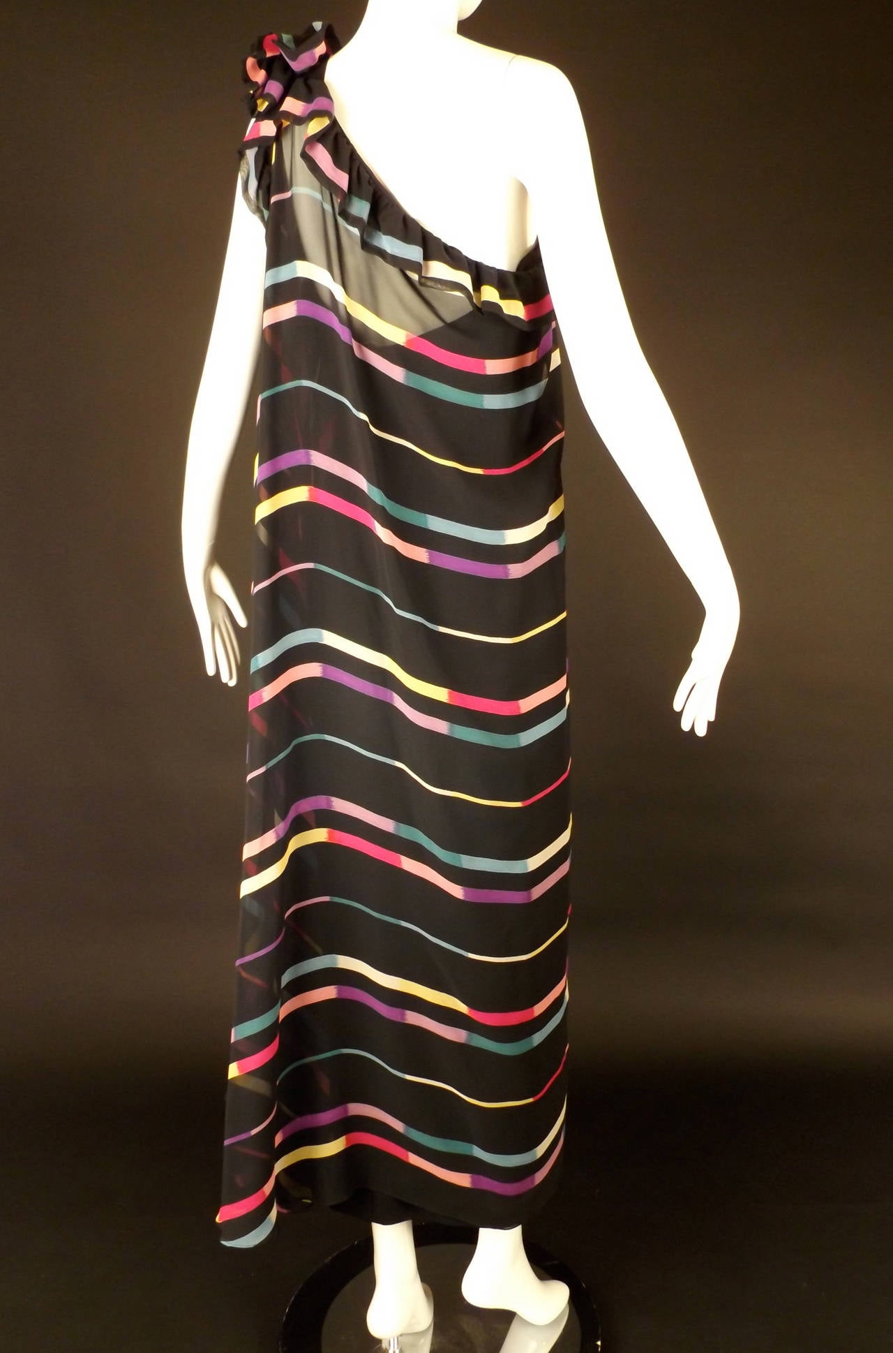 1980s Albert Nipon Chiffon Stripe Grecian Evening Dress At