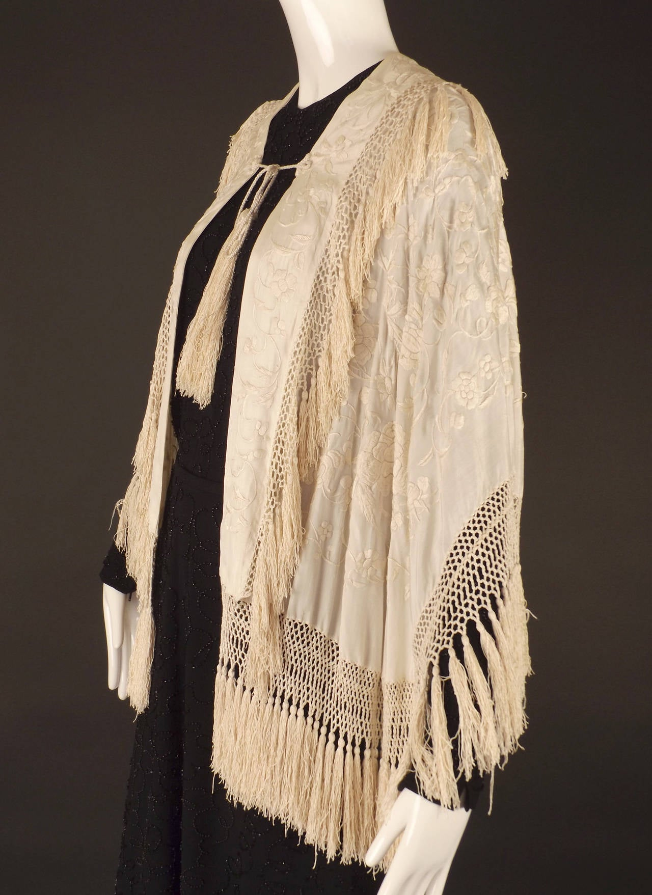1920 silk embroidered and fringe piano scarf cape at 1stdibs