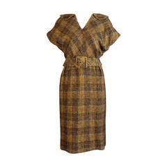 1960s Olive Wool Plaid James Galanos Dress