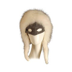 1970s Rare Adolfo White Fox Fur & Rhinestone Mask