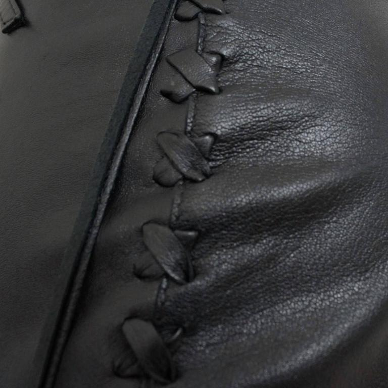 Dolce & Gabbana Blacl Leather Pants In Excellent Condition For Sale In Gazzaniga (BG), IT