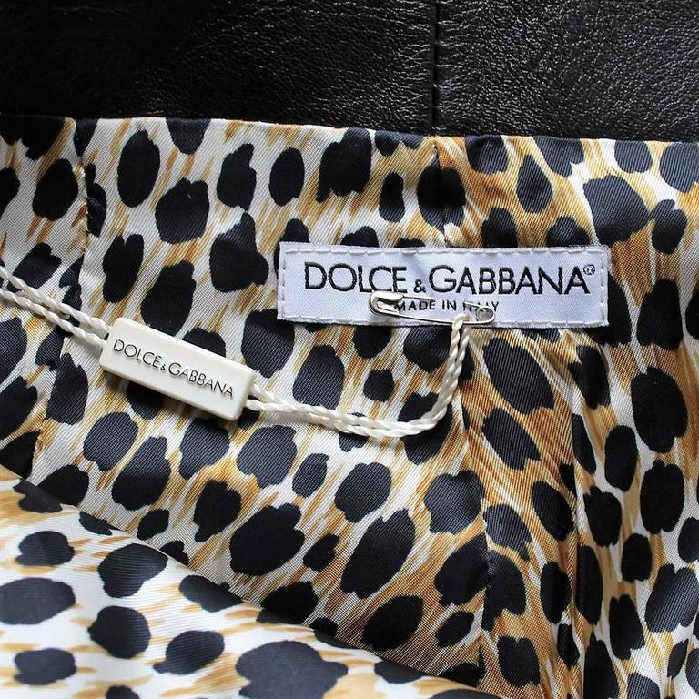 Dolce & Gabbana Blacl Leather Pants For Sale 1