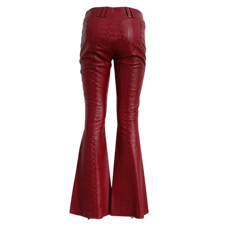Red Dolce & Gabbana Cherry Leather Pants For Sale