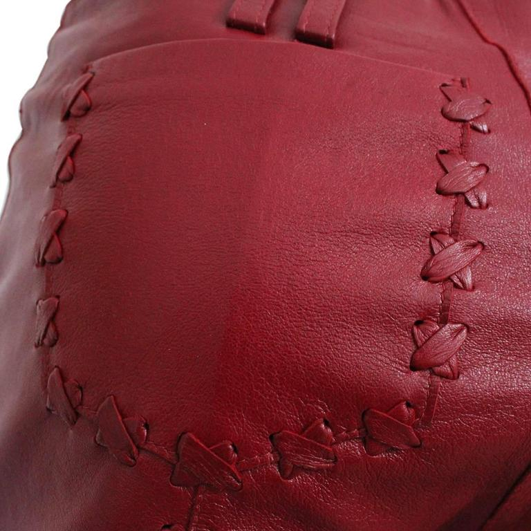 Dolce & Gabbana Cherry Leather Pants In Excellent Condition For Sale In Gazzaniga (BG), IT