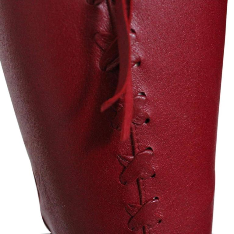 Women's Dolce & Gabbana Cherry Leather Pants For Sale