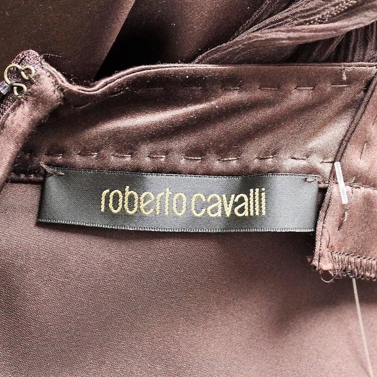 Roberto Cavalli Brown Silk Cocktail Dress 4