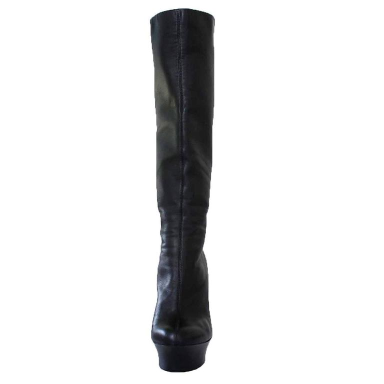 Giuseppe Zanotti Design Black Leather Boots 37 In Excellent Condition For Sale In Gazzaniga (BG), IT