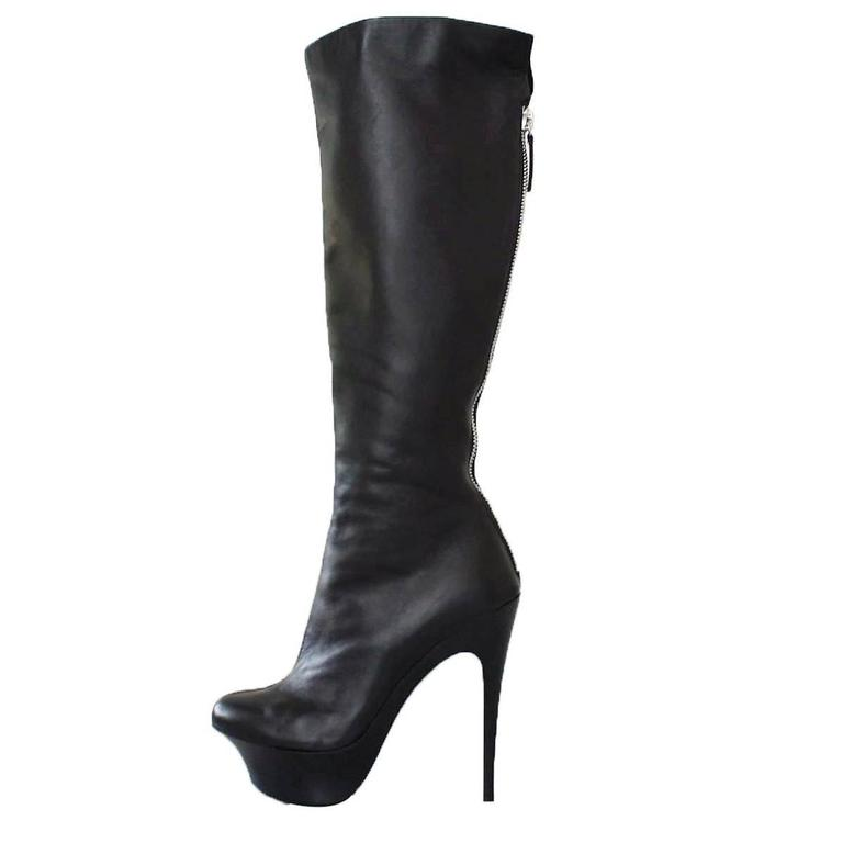 Giuseppe Zanotti Design Black Leather Boots 37 For Sale
