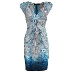 Roberto Cavalli Azure Python Printed Dress S