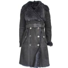 Burberry Black Shearling Lamb Coat S