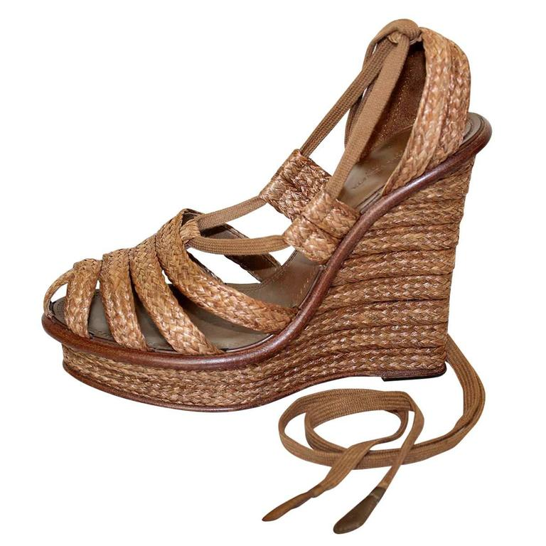 Bottega Veneta Straw Wedge Sandal 38,5 1
