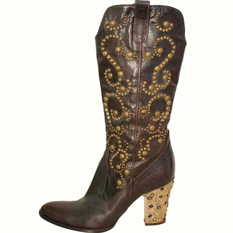 Le Silla Jewel Leather Boots 38 For Sale