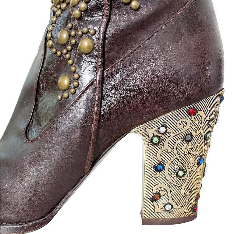 Le Silla Jewel Leather Boots 38 In Good Condition For Sale In Gazzaniga (BG), IT