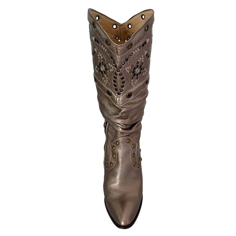 Le Silla Studded Silver Boots 38 In Excellent Condition For Sale In Gazzaniga (BG), IT