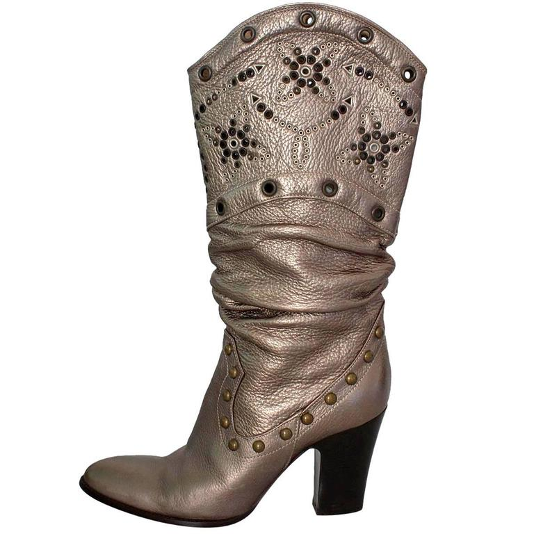 Le Silla Studded Silver Boots 38 For Sale
