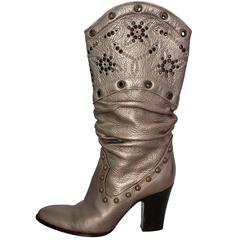 Le Silla Studded Silver Boots 38