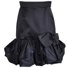 Vintage Yves Saint Laurent Black Silk Skirt