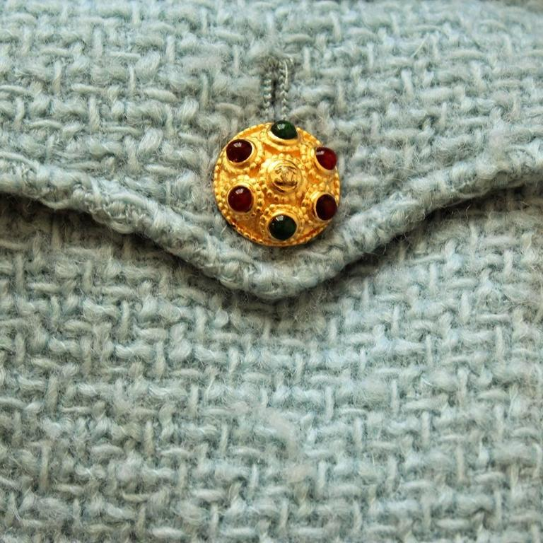 Gray 1996 Vintage Chanel  Azure Wool Jacket For Sale