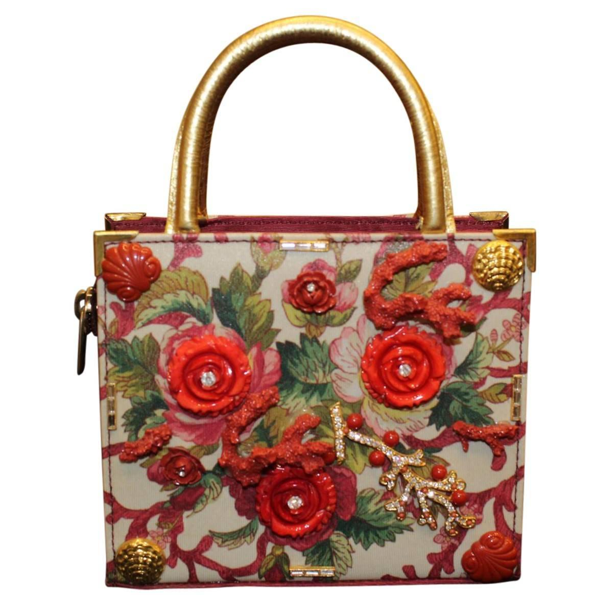 world of craft unique carlo zini floral bag for at 1stdibs 3268
