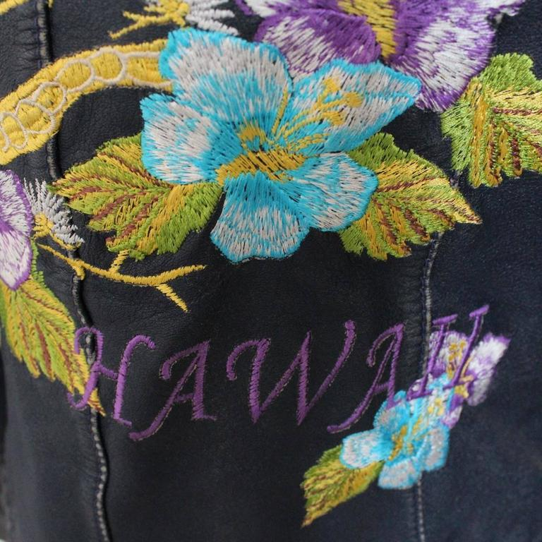 Dolce And Gabbana Hawaii Embroidered Leather Jacket 38 For Sale At