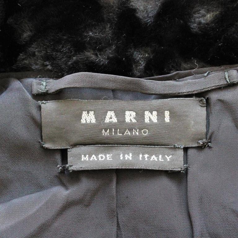 Women's Marni Black Fur Coat 44 For Sale