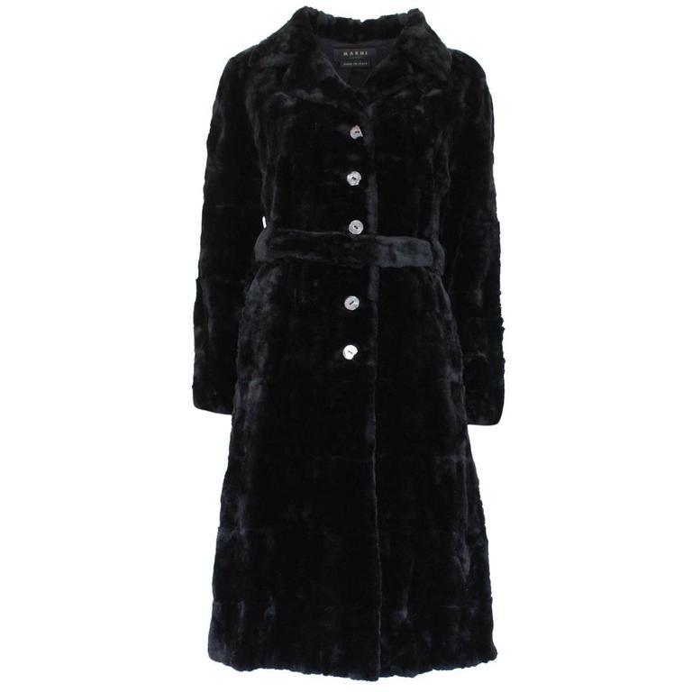 Marni Black Fur Coat 44 For Sale