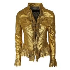 Just Cavalli Golden Perforated Leather Jacket S
