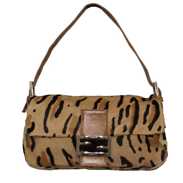 Fendi Spotted Tan And Brown Pony Hair Baguette - Shw IquIu0At