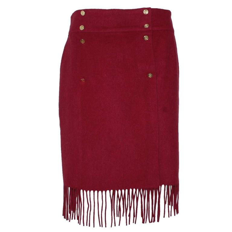 Chanel Cherry Wool Skirt  For Sale
