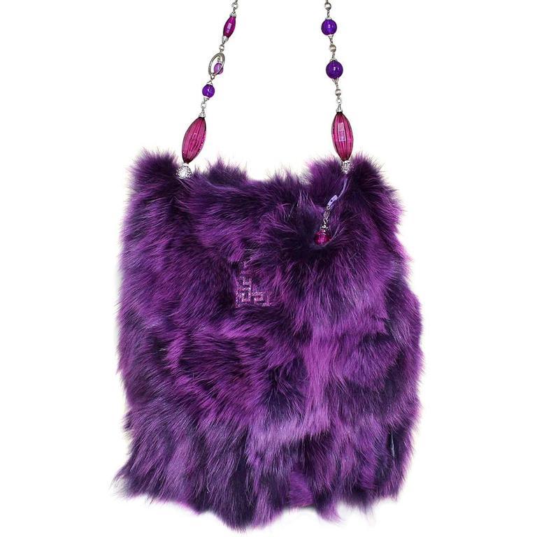 Carlo Zini Purple Fox Fur Bag