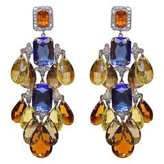 Unique Carlo Zini Multicolored Crystals Pendants