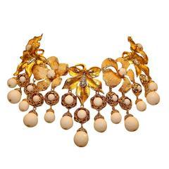 Carlo Zini Bijoux Golden Floral Collier