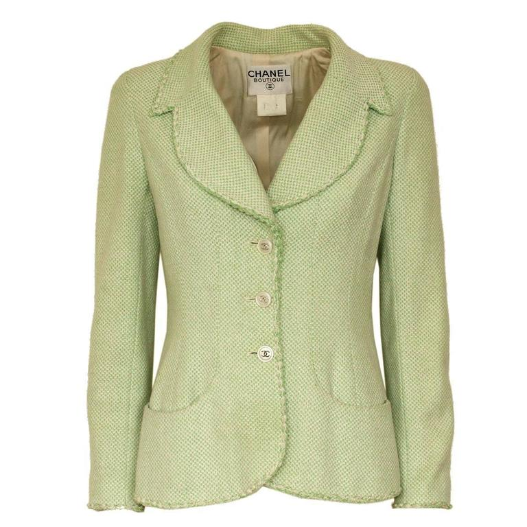 Chanel Wool Blend Green Jacket 38 - 42 1