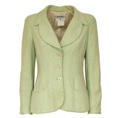 Chanel Wool Blend Green Jacket 38 - 42