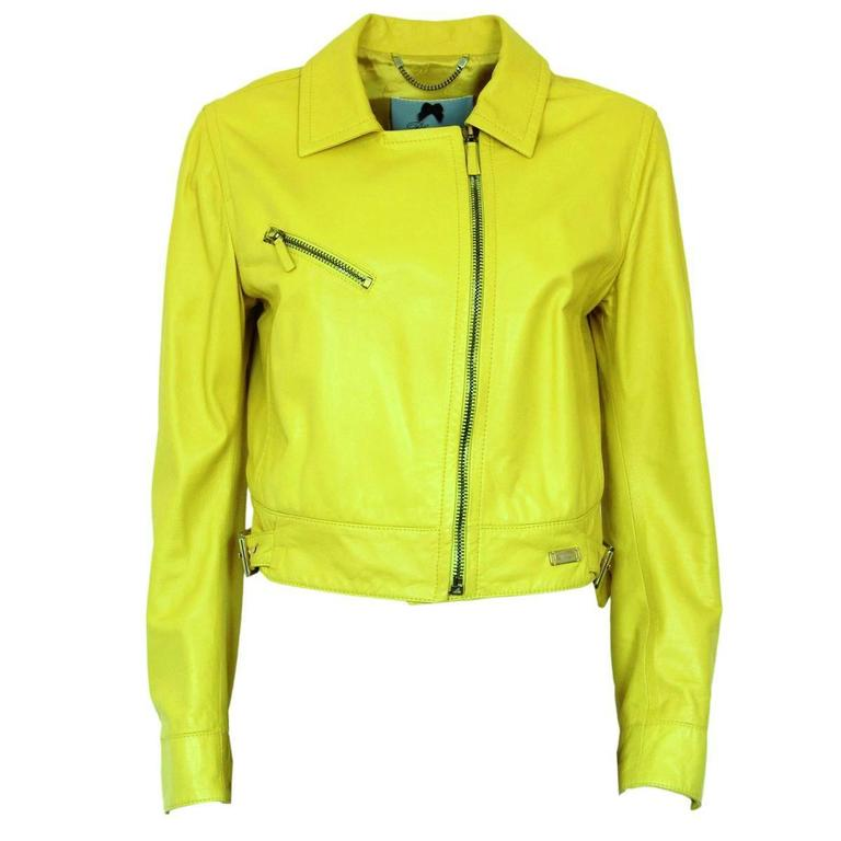 Blumarine Yellow Lamb Leather Biker 42