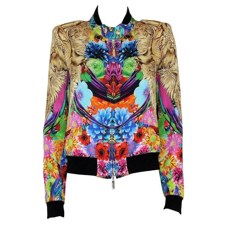 Roberto Cavalli Multicolored Silk Eagles Jacket 1